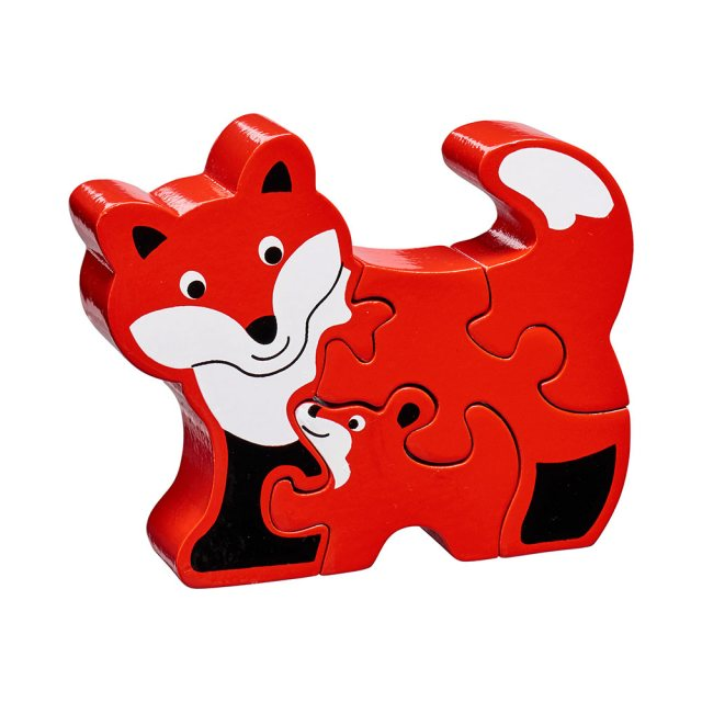 Four piece red chunky wooden jigsaw of a Fox and cub which stands once complete