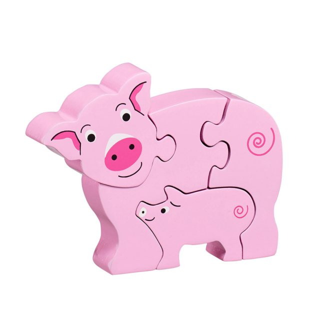 Four piece pink chunky wooden jigsaw of a Pig and piglet which stands once complete