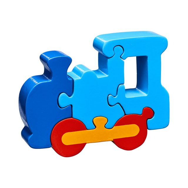 Four piece blue chunky wooden jigsaw in fun train design which stands once complete