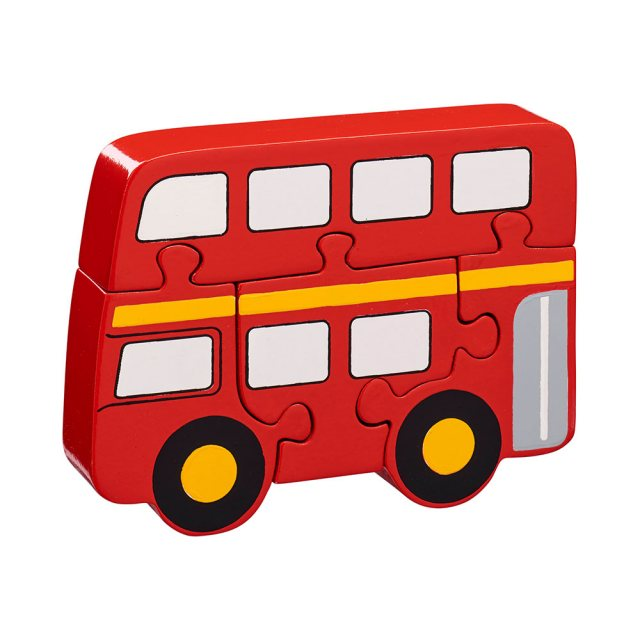 Four piece red chunky wooden jigsaw in fun London bus design which stands once complete