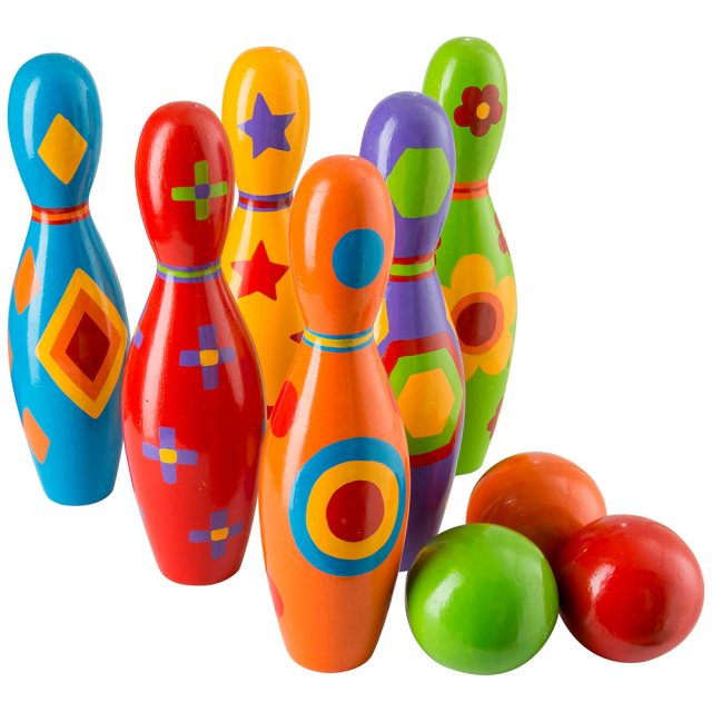 Set of six colourful wooden skittles with colourful shape designs and three balls
