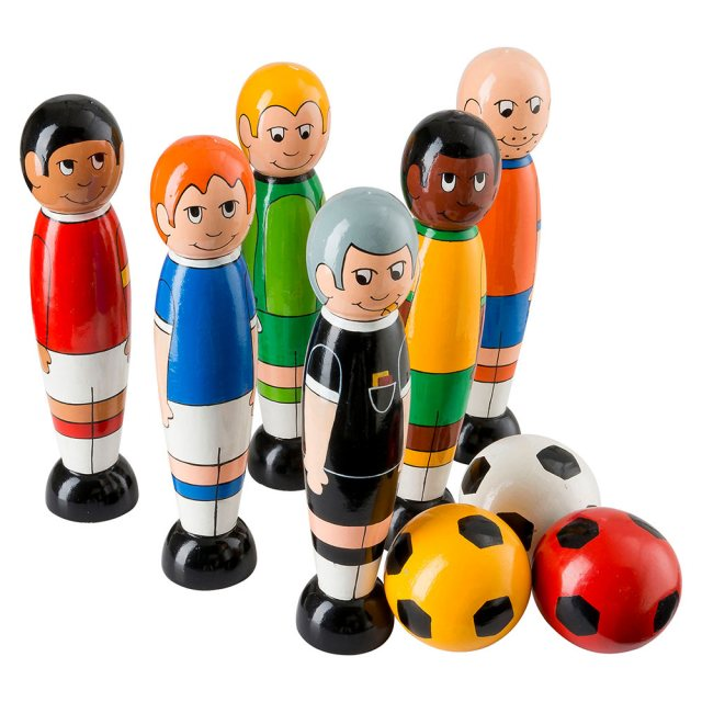 set of six wooden multi cultural football player skittles with three balls