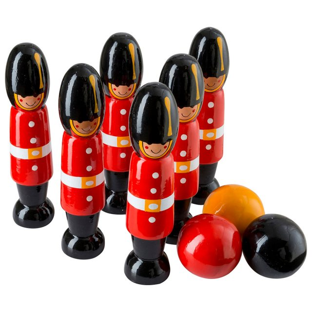 set of six red, wooden London guardsmen soldier skittles with three balls