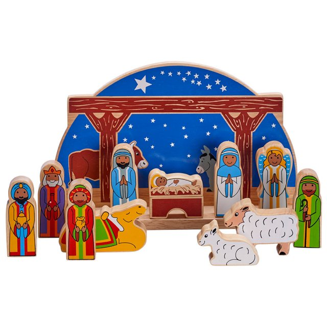 Nativity with wooden blue semi-circle backdrop, with colourful biblical character figures/ animals