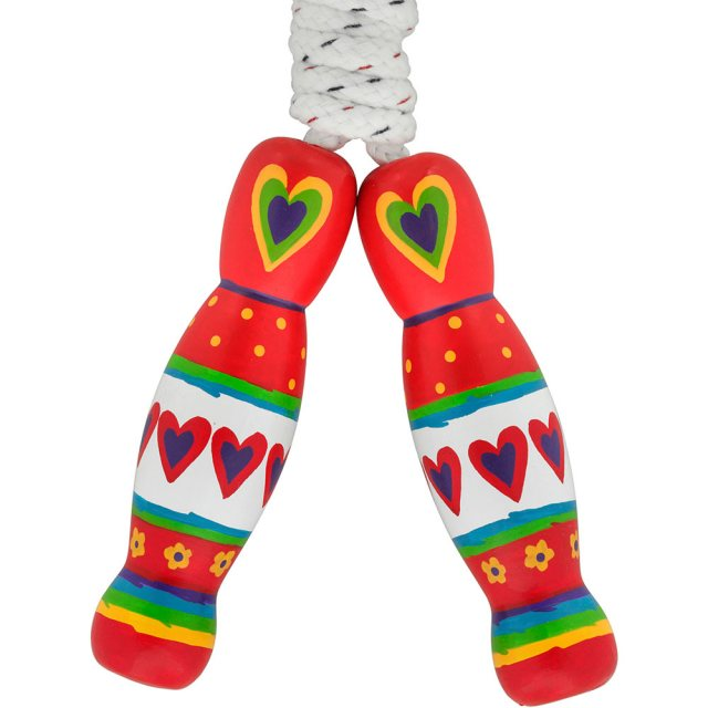 traditional skipping rope with red heart designs painted on two multicoloured wooden handles