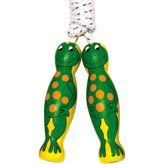 traditional skipping rope with green spotty frog design on two yellow wooden handles