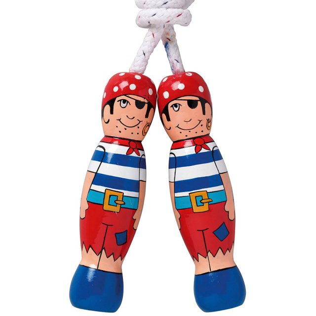 traditional skipping rope with red, blue and white pirate design on two wooden handles