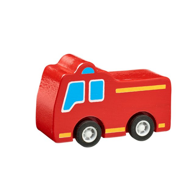 Red wooden mini fire engine toy car with plastic black wheels