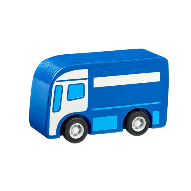 Blue wooden mini lorry toy car with plastic black wheels