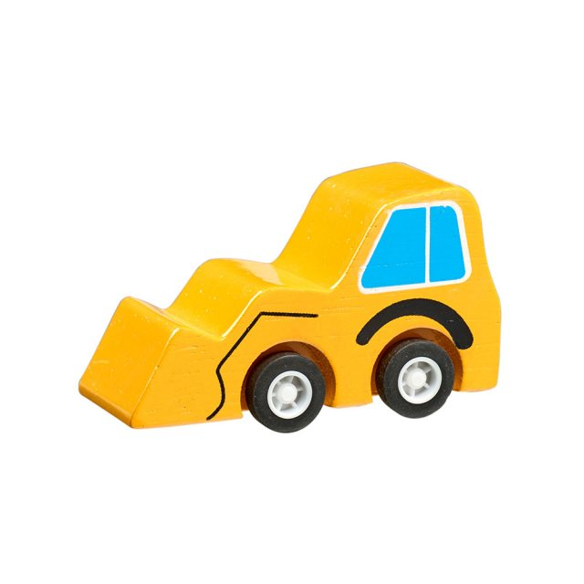 Yellow wooden mini digger toy car with plastic black wheels