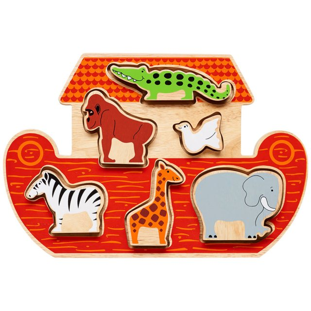 Wooden red Noah's ark shape sorter tray with six removable colourful animals in alloted spaces