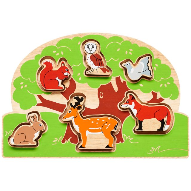 Wooden green tree shape sorter tray with six removable colourful animals in alloted spaces