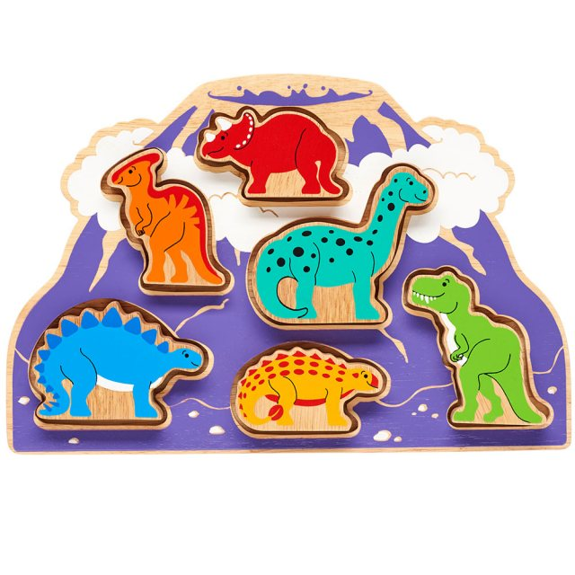 Wooden purple volcano shape sorter tray with six removable colourful dinosaurs in alloted spaces