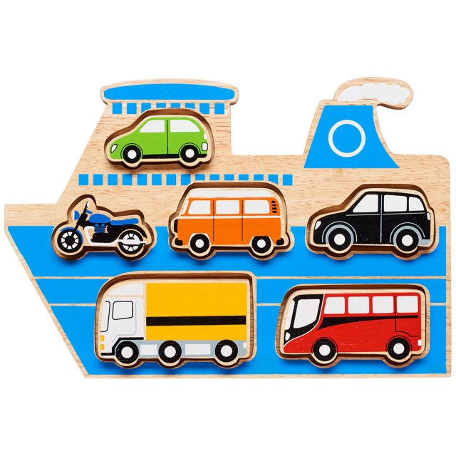 Wooden blue ferry shape sorter tray with six removable multicoloured vehicles in alloted spaces.