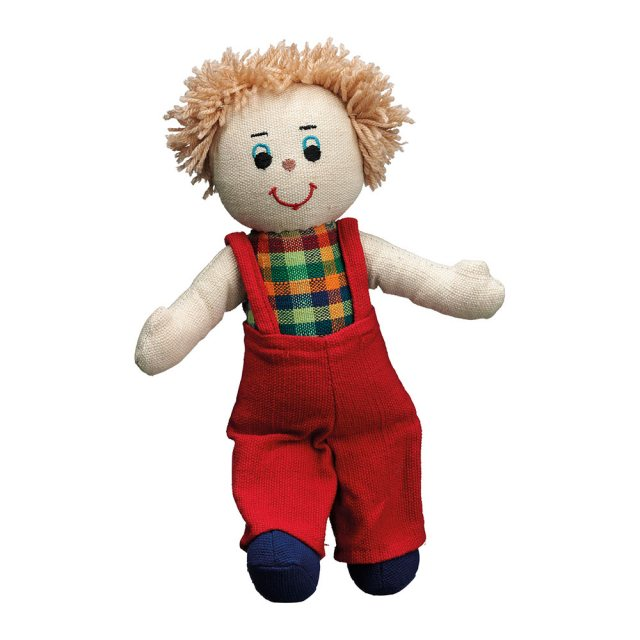 Soft toy boy rag doll with white skin, blonde hair wearing multicoloured dungarees