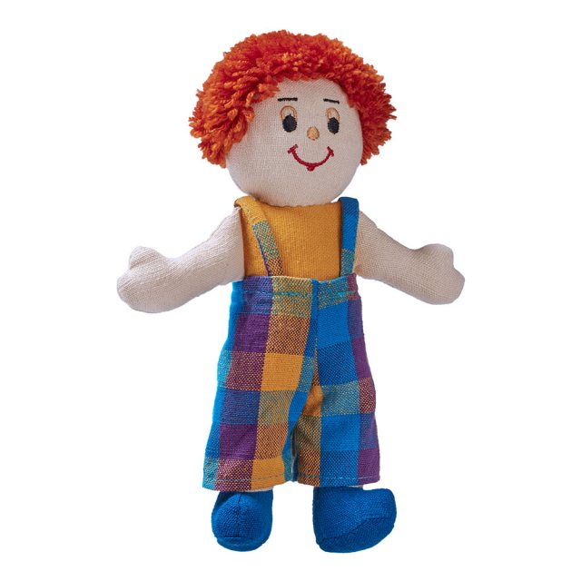 Soft toy boy rag doll with white skin, red hair wearing multicoloured dungarees