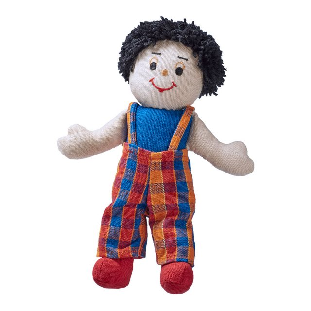 Soft toy boy rag doll with white skin, dark hair wearing multicoloured dungarees
