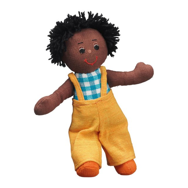 Soft toy boy rag doll with black skin, black hair wearing  multicoloured dungarees