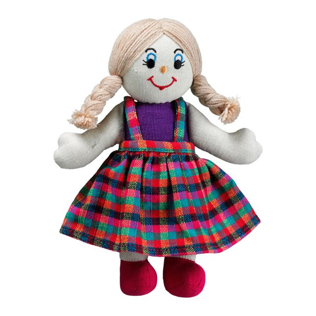 Soft toy girl rag doll with white skin, blonde hair wearing a multicoloured checkered dress
