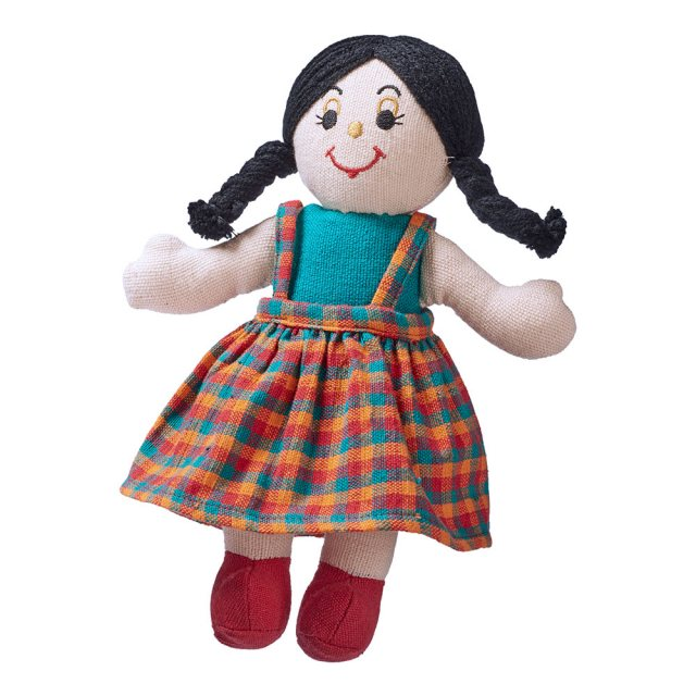 Soft toy girl rag doll with white skin, dark hair wearing a multicoloured checkered dress