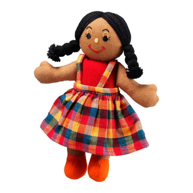 Soft toy girl rag doll with brown skin, black hair wearing a multicoloured checkered dress