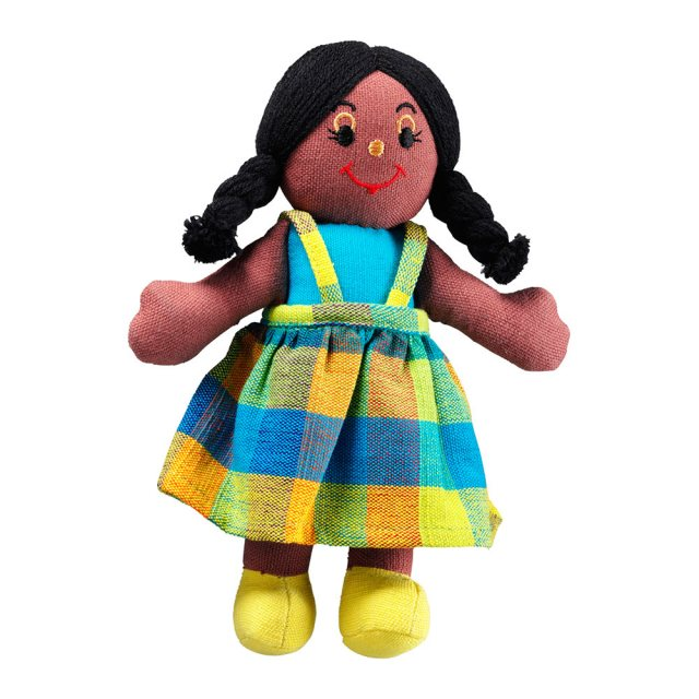 Soft toy girl rag doll with black skin, black hair wearing a multicoloured checkered dress