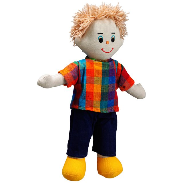 Soft toy dad rag doll with white skin, blonde hair wearing a checkered top and trousers