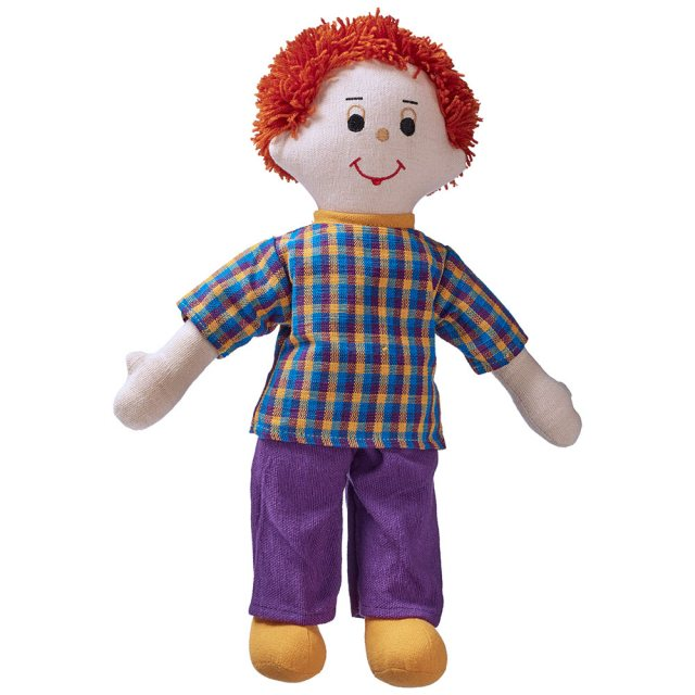 Soft toy dad rag doll with brown skin, red hair wearing a checkered top and trousers