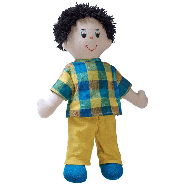 Soft toy dad rag doll with white skin, dark hair wearing a checkered top and trousers