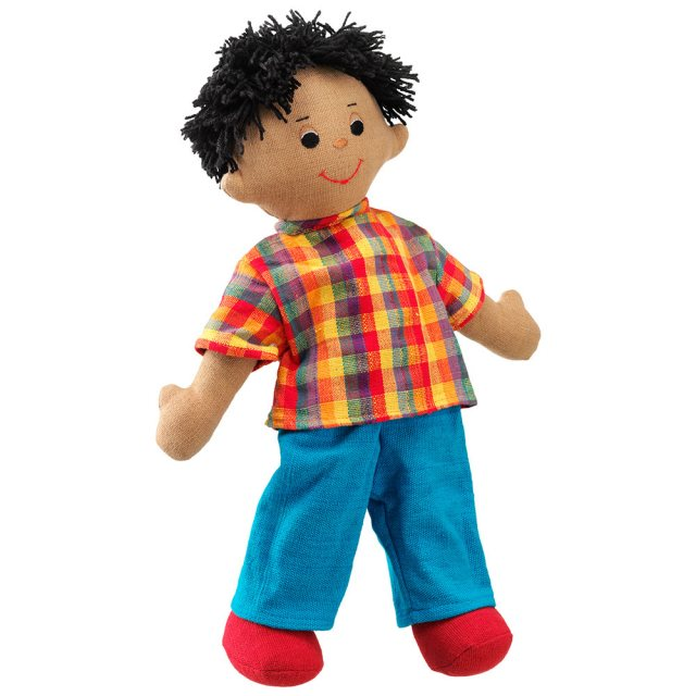 Soft toy dad rag doll with brown skin, black hair wearing a checkered top and trousers