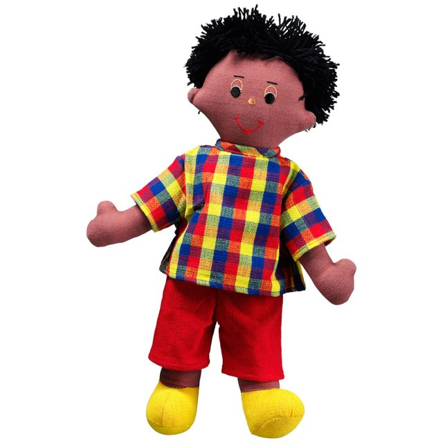 Soft toy dad rag doll with black skin, black hair wearing a checkered top and trousers