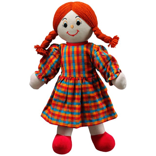 Soft toy mum rag doll with white skin and red hair wearing a checkered multicoloured dress