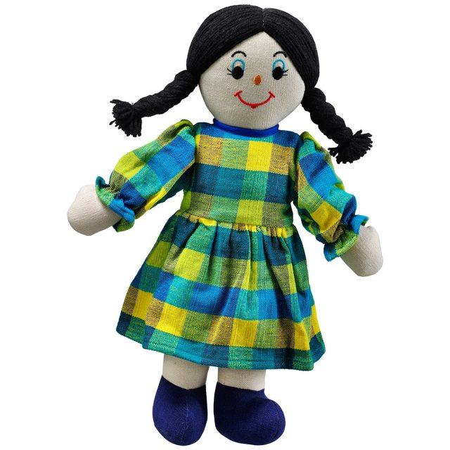 Soft toy mum rag doll with white skin and dark hair wearing a checkered multicoloured dress