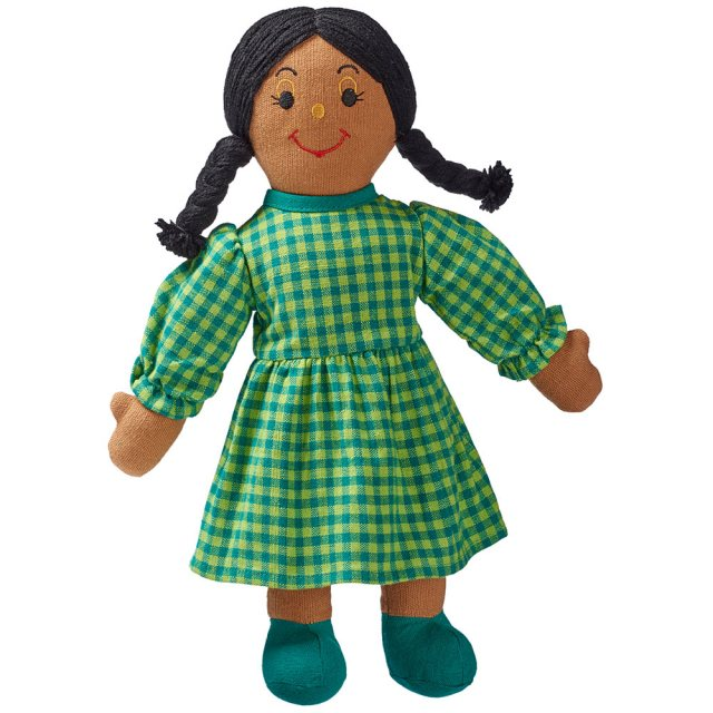 Soft toy mum rag doll with brown skin and black hair wearing a checkered multicoloured dress