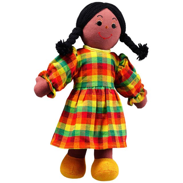Soft toy mum rag doll with black skin and black hair wearing a checkered multicoloured dress