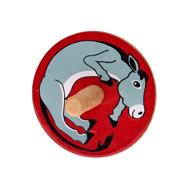 a birds eye view of a red spinning top with a design of a grey donkey
