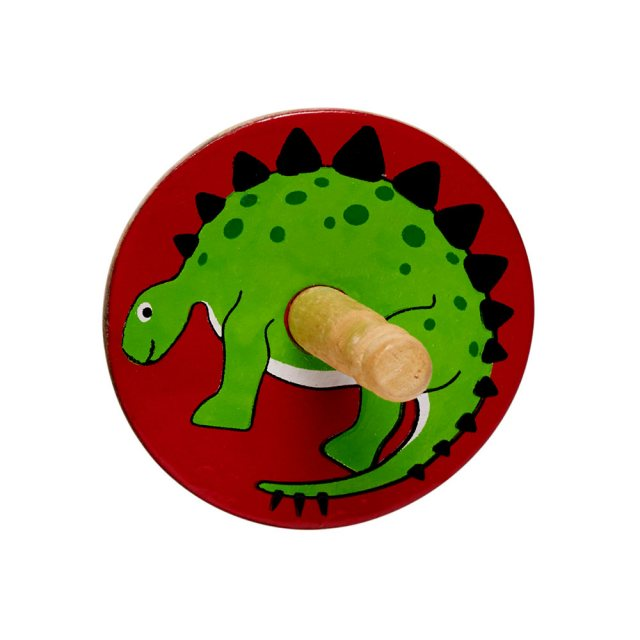 birds eye view of a red spinning top with a design of a stegosaurus dinosaur