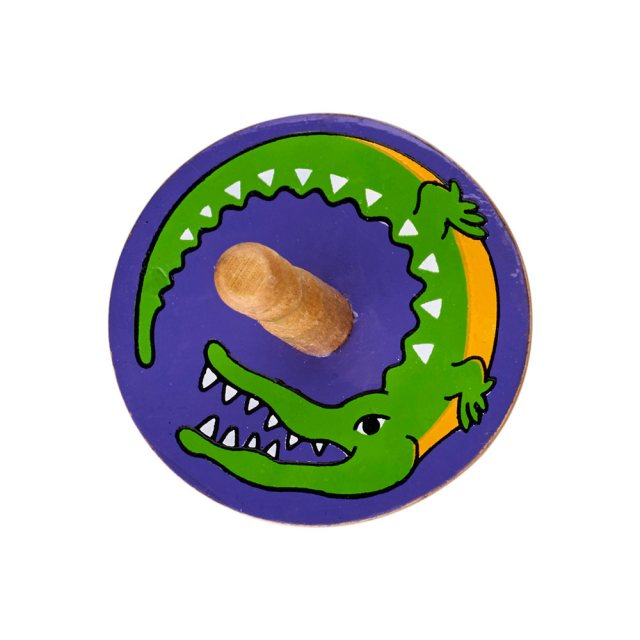 a birds eye view of a purple spinning top with a design of a green crocodile