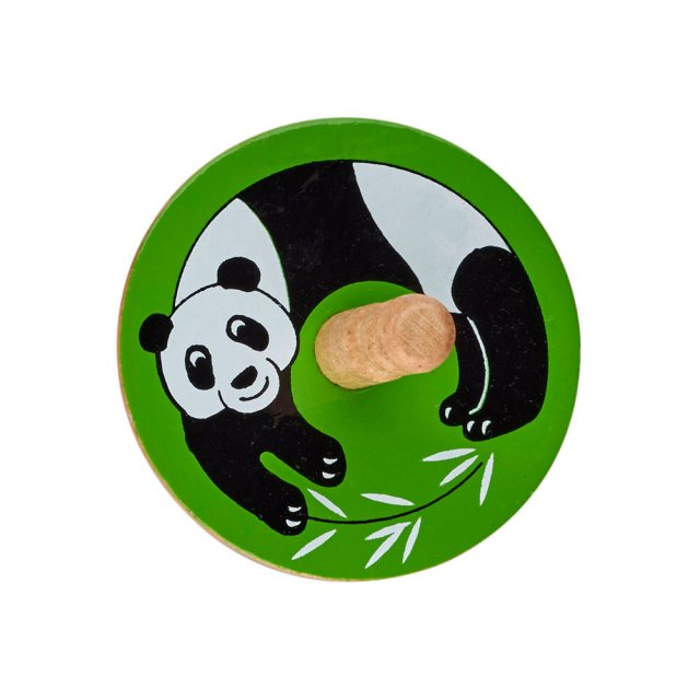 a birds eye view of a green spinning top with a design of a panda