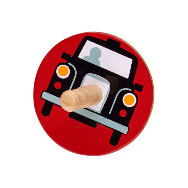 birds eye view of a red spinning top withdesign of a black taxi cab