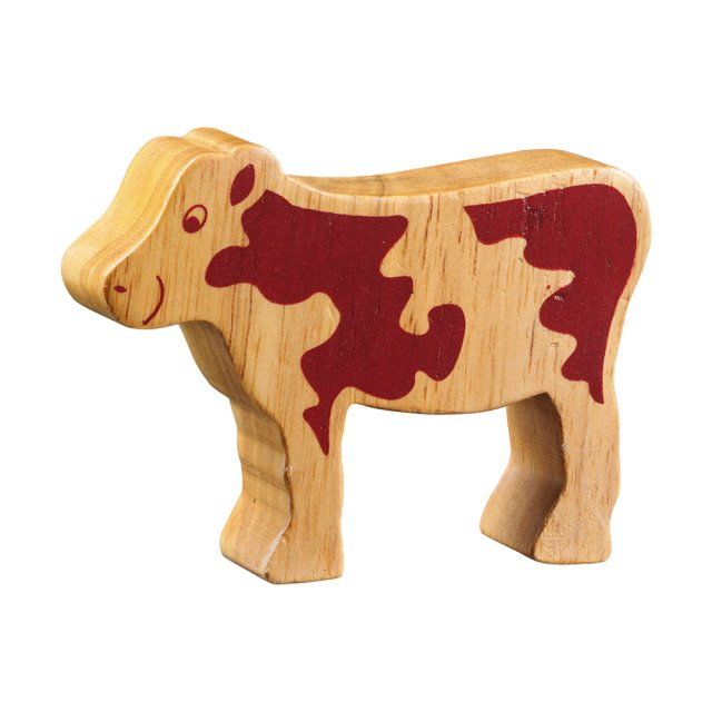 A chunky wooden ram toy figure in profile, plain with wood grain