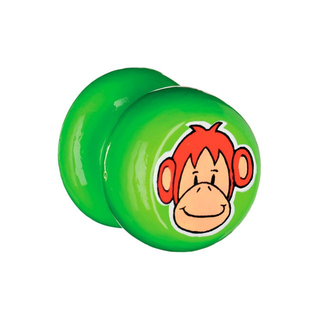 A green circular door handle with orange monkey design on flat edge