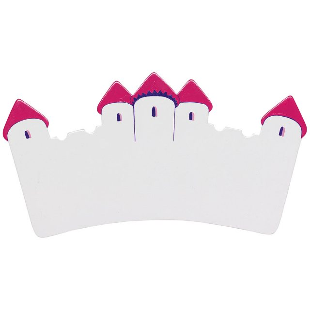 A small, flat wooden name board plaque in white castle design with dark pink turrets.
