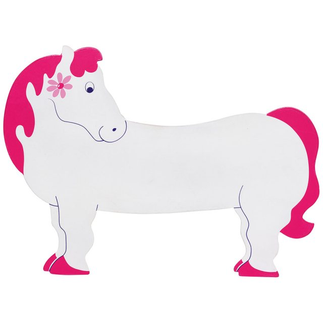 A large, flat wooden name board in white horse design with pink main and hoof details