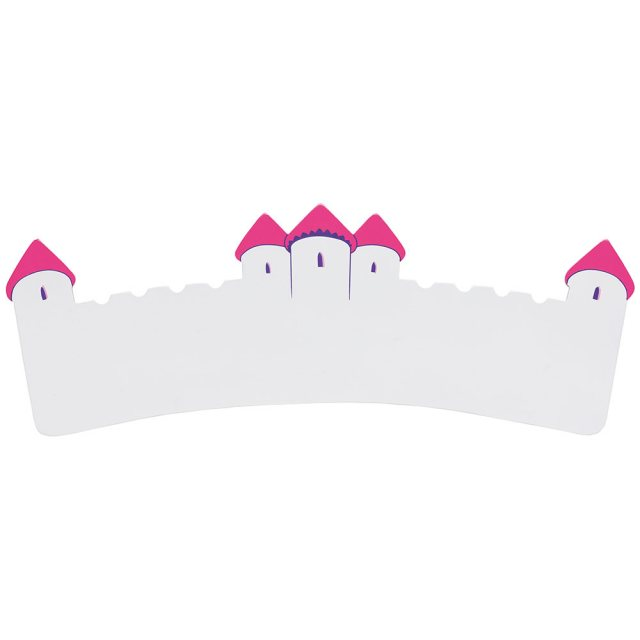 A long, flat wooden name board plaque in white castle design with dark pink turrets
