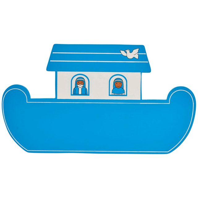 A small, flat wooden name board plaque in blue Noah's ark boat design