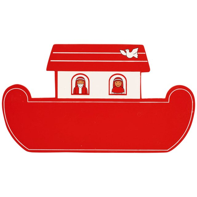 A small, flat wooden name board plaque in red Noah's ark boat design