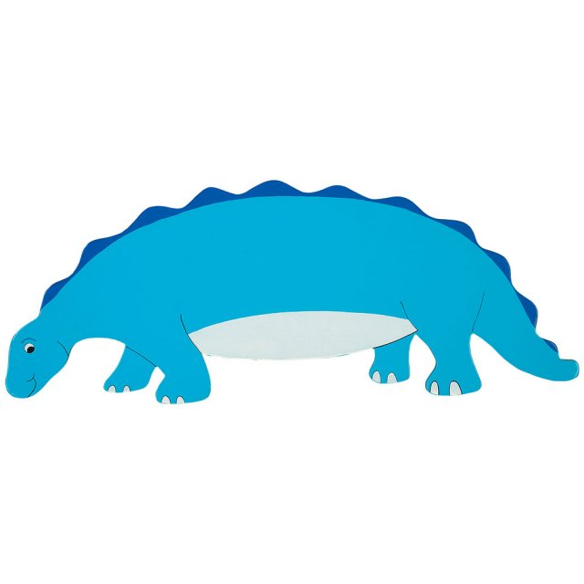 A flat wooden name board plaque in blue stegosaurus dinosaur design.