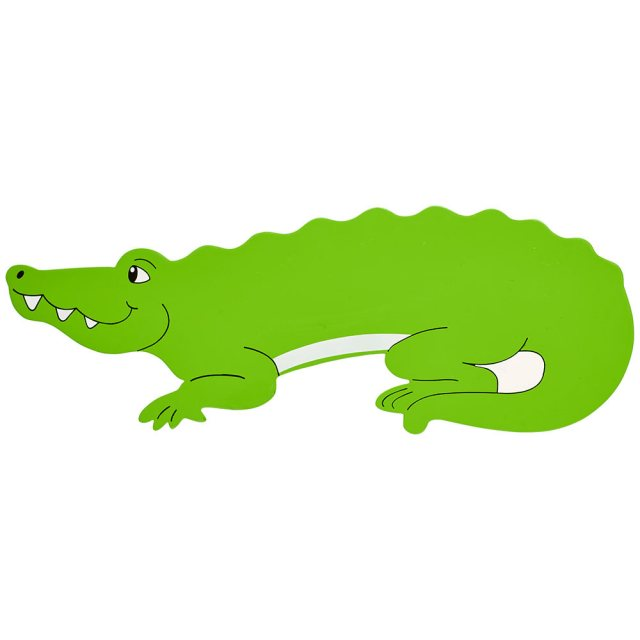 A large, flat wooden name board plaque in green crocodile design with white details.