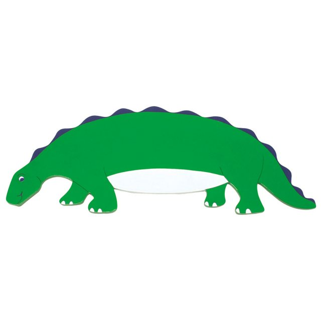 A flat wooden name board plaque in green stegosaurus dinosaur design.